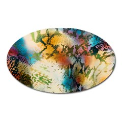Abstract Color Splash Background Colorful Wallpaper Oval Magnet by Simbadda