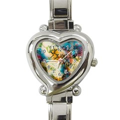 Abstract Color Splash Background Colorful Wallpaper Heart Italian Charm Watch by Simbadda