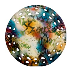 Abstract Color Splash Background Colorful Wallpaper Round Filigree Ornament (two Sides) by Simbadda