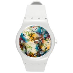 Abstract Color Splash Background Colorful Wallpaper Round Plastic Sport Watch (m) by Simbadda