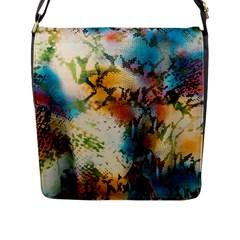 Abstract Color Splash Background Colorful Wallpaper Flap Messenger Bag (l)  by Simbadda