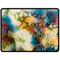 Abstract Color Splash Background Colorful Wallpaper Double Sided Fleece Blanket (large)  by Simbadda