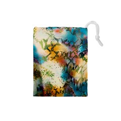Abstract Color Splash Background Colorful Wallpaper Drawstring Pouches (small)  by Simbadda
