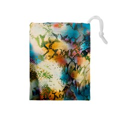 Abstract Color Splash Background Colorful Wallpaper Drawstring Pouches (medium)  by Simbadda