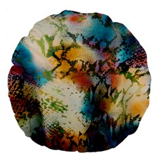 Abstract Color Splash Background Colorful Wallpaper Large 18  Premium Flano Round Cushions