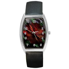 Abstract Green And Red Background Barrel Style Metal Watch by Simbadda