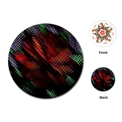 Abstract Green And Red Background Playing Cards (round)  by Simbadda