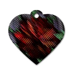 Abstract Green And Red Background Dog Tag Heart (one Side) by Simbadda