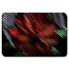 Abstract Green And Red Background Large Doormat  by Simbadda
