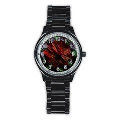 Abstract Green And Red Background Stainless Steel Round Watch by Simbadda