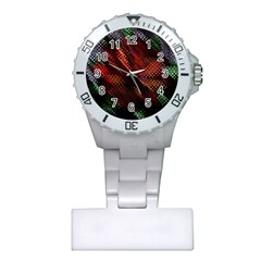Abstract Green And Red Background Plastic Nurses Watch by Simbadda