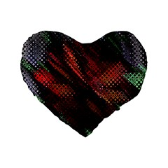 Abstract Green And Red Background Standard 16  Premium Flano Heart Shape Cushions by Simbadda