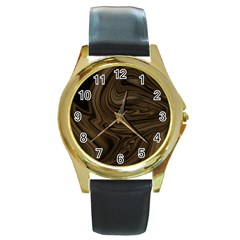 Abstract Art Round Gold Metal Watch by Simbadda