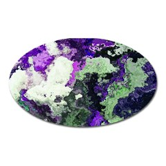 Background Abstract With Green And Purple Hues Oval Magnet by Simbadda