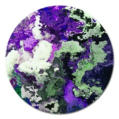 Background Abstract With Green And Purple Hues Magnet 5  (round) by Simbadda