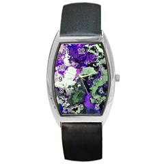 Background Abstract With Green And Purple Hues Barrel Style Metal Watch by Simbadda