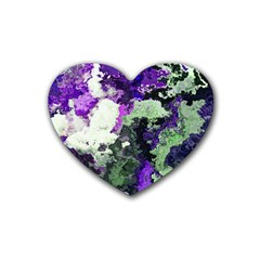 Background Abstract With Green And Purple Hues Heart Coaster (4 Pack)  by Simbadda