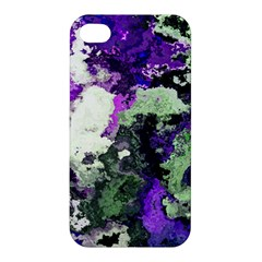 Background Abstract With Green And Purple Hues Apple Iphone 4/4s Premium Hardshell Case by Simbadda