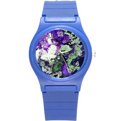 Background Abstract With Green And Purple Hues Round Plastic Sport Watch (s) by Simbadda