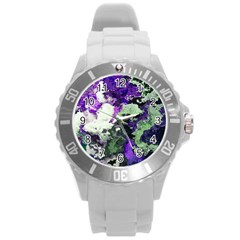 Background Abstract With Green And Purple Hues Round Plastic Sport Watch (l) by Simbadda