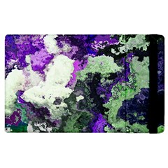 Background Abstract With Green And Purple Hues Apple Ipad 2 Flip Case by Simbadda