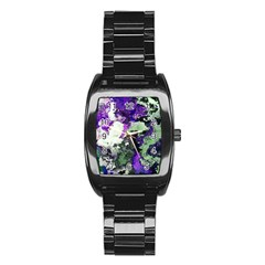 Background Abstract With Green And Purple Hues Stainless Steel Barrel Watch by Simbadda