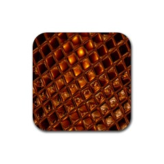 Caramel Honeycomb An Abstract Image Rubber Square Coaster (4 pack)