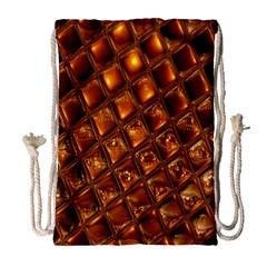 Caramel Honeycomb An Abstract Image Drawstring Bag (large) by Simbadda
