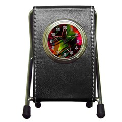 Colorful Background Star Pen Holder Desk Clocks by Simbadda
