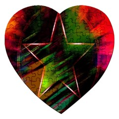 Colorful Background Star Jigsaw Puzzle (heart) by Simbadda