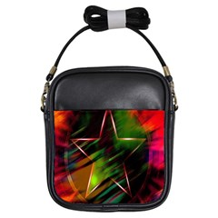 Colorful Background Star Girls Sling Bags by Simbadda