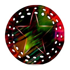 Colorful Background Star Ornament (round Filigree) by Simbadda