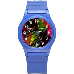 Colorful Background Star Round Plastic Sport Watch (s) by Simbadda