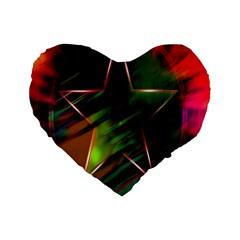 Colorful Background Star Standard 16  Premium Flano Heart Shape Cushions by Simbadda