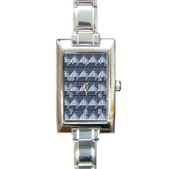 Snow Peak Abstract Blue Wallpaper Rectangle Italian Charm Watch by Simbadda