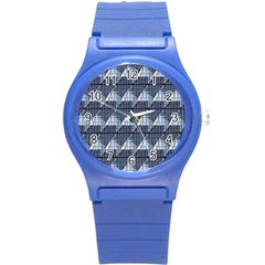 Snow Peak Abstract Blue Wallpaper Round Plastic Sport Watch (s) by Simbadda