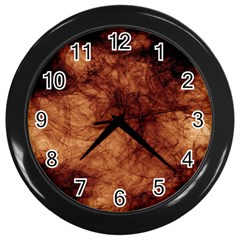 Abstract Brown Smoke Wall Clocks (black) by Simbadda