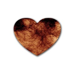 Abstract Brown Smoke Rubber Coaster (heart)  by Simbadda