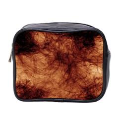 Abstract Brown Smoke Mini Toiletries Bag 2 Side by Simbadda