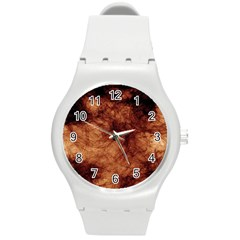 Abstract Brown Smoke Round Plastic Sport Watch (m) by Simbadda