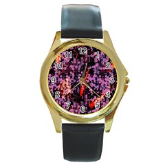 Abstract Painting Digital Graphic Art Round Gold Metal Watch by Simbadda