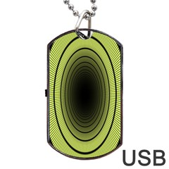 Spiral Tunnel Abstract Background Pattern Dog Tag Usb Flash (two Sides) by Simbadda