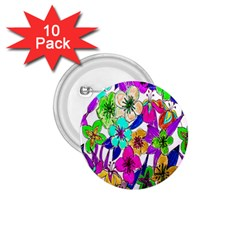 Floral Colorful Background Of Hand Drawn Flowers 1 75  Buttons (10 Pack) by Simbadda