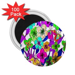 Floral Colorful Background Of Hand Drawn Flowers 2 25  Magnets (100 Pack)  by Simbadda