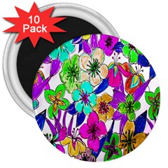 Floral Colorful Background Of Hand Drawn Flowers 3  Magnets (10 Pack)  by Simbadda