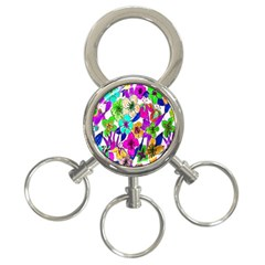 Floral Colorful Background Of Hand Drawn Flowers 3 Ring Key Chains by Simbadda