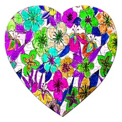 Floral Colorful Background Of Hand Drawn Flowers Jigsaw Puzzle (heart) by Simbadda