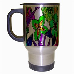 Floral Colorful Background Of Hand Drawn Flowers Travel Mug (silver Gray) by Simbadda
