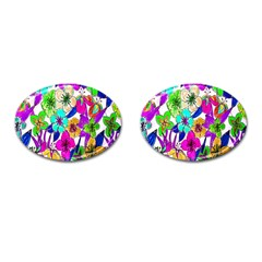 Floral Colorful Background Of Hand Drawn Flowers Cufflinks (oval) by Simbadda