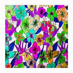 Floral Colorful Background Of Hand Drawn Flowers Medium Glasses Cloth (2 Side) by Simbadda